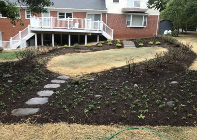 Landscaping with stone steps and seeding Howard county by Frederick Landscaping
